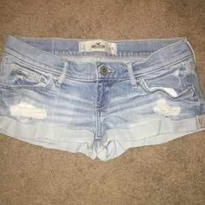 Hollister Light Wash Distressed Denim Shorts
